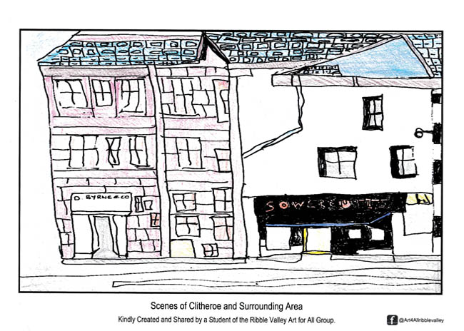 Art For All Ribble Valley – Clitheroe - Colouring Page